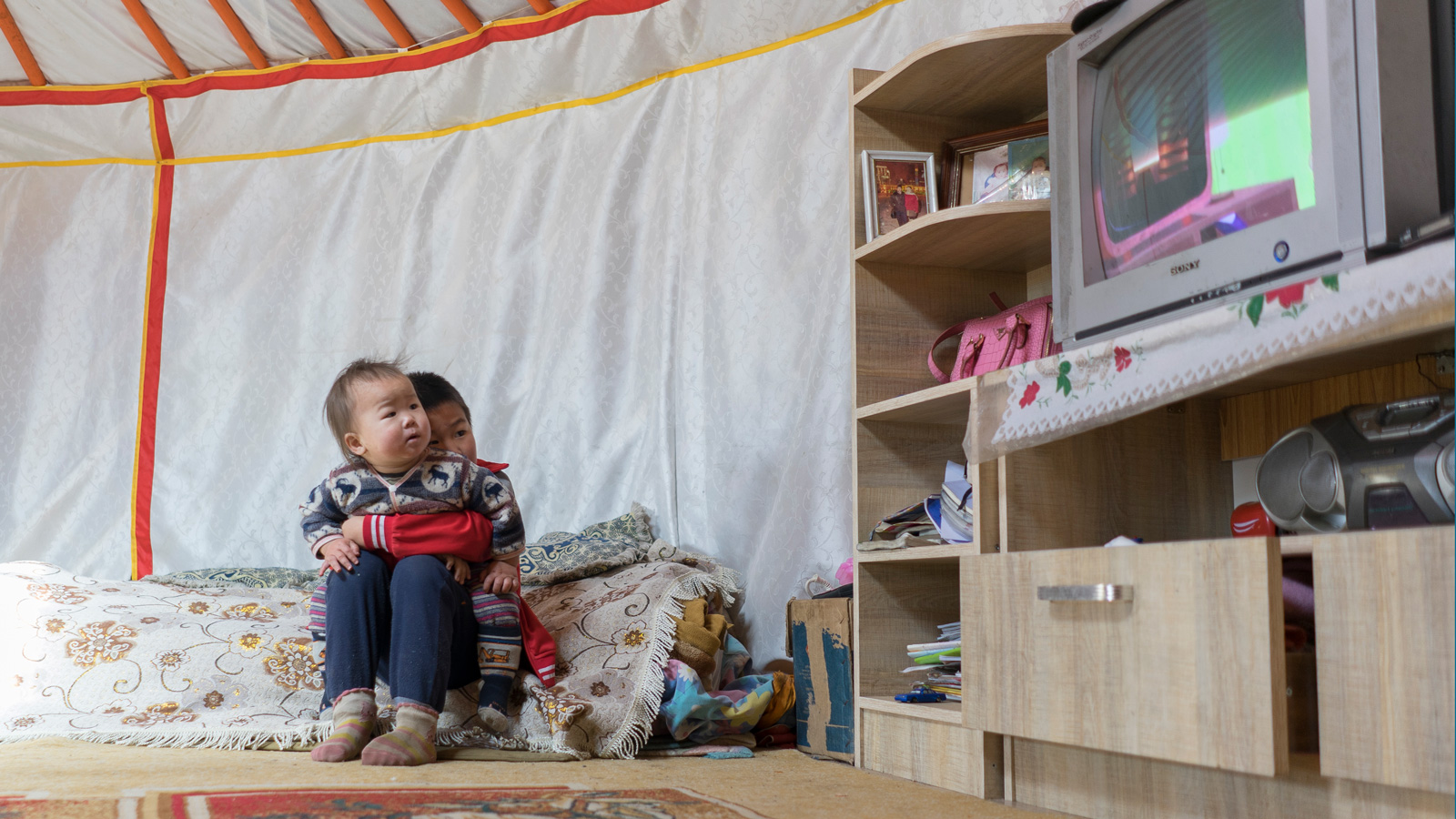 Toddlers living in Mongolia's ger district